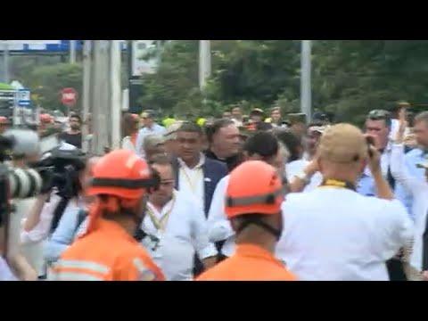US Pompeo visits Simon Bolivar border bridge with Colombia's Duque