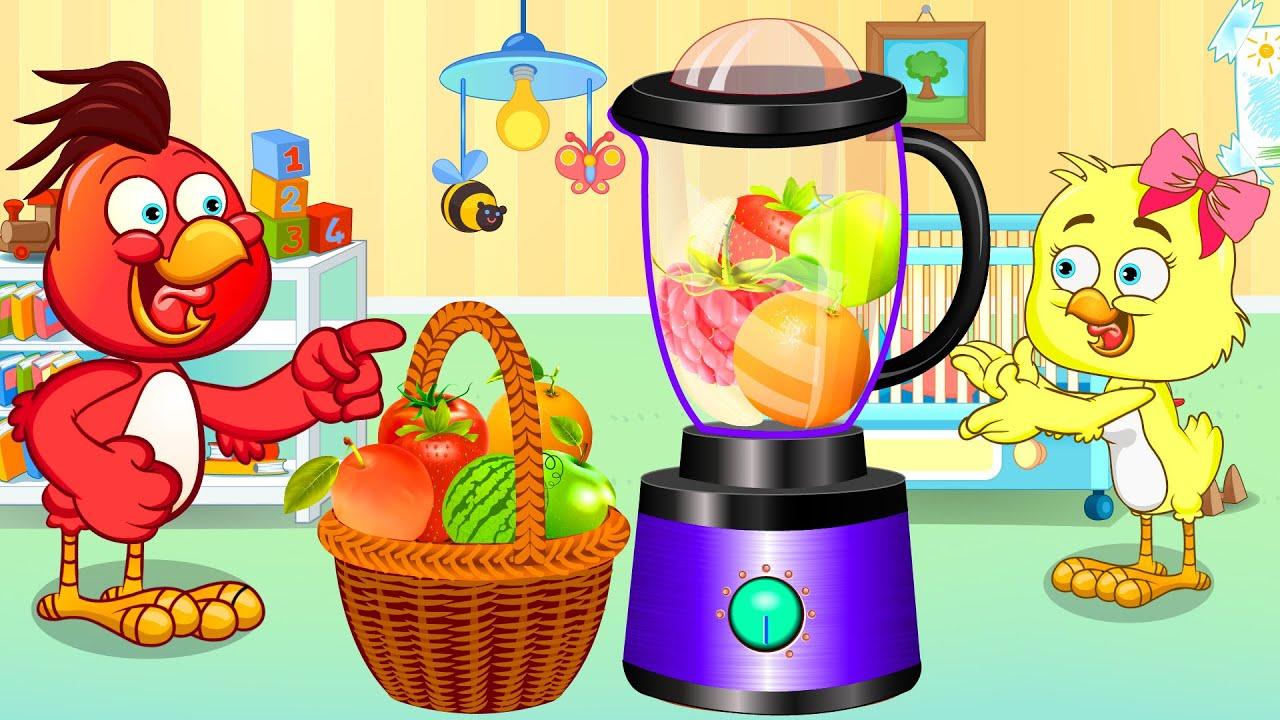 A Galinha Magricela liquidificador gigante produz suco de frutas colorido - Canciones infantile