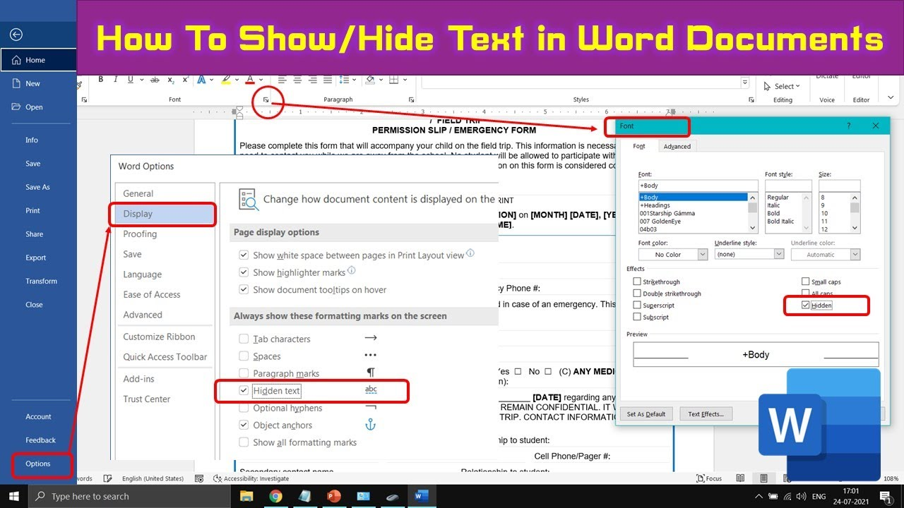 How to Show / Hide Text in Documents | Microsoft Word 2016 Tutorial ...