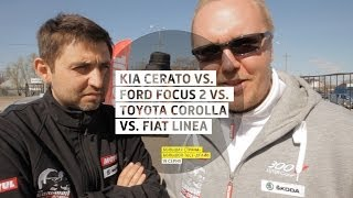 Kia Cerato vs. Ford Focus ll vs. Toyota Corolla vs. Fiat Linea - День 19 - Большая страна - БТД