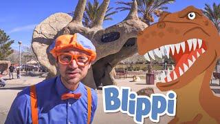 Blippi Visits Dinosaur Exhibition | Dinosaurs Names | Educational Videos for Toddlers | Moonbug Kids