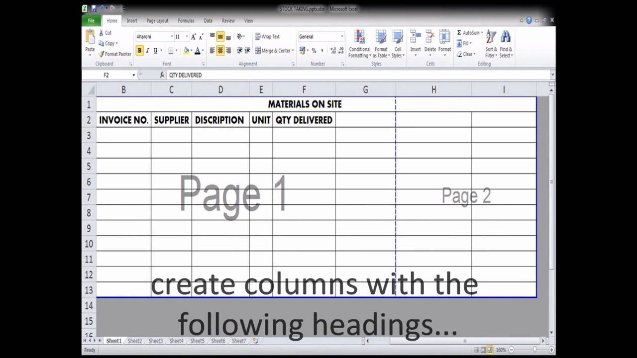 Use Of Excel Spread Sheet By A Quantity Surveyor For Material Stock Taking On Site Wmv
