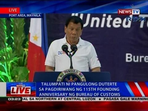 Talumpati ni Pangulong Duterte sa pagdiriwang ng 115th Founding Anniversary ng Bureau of Customs