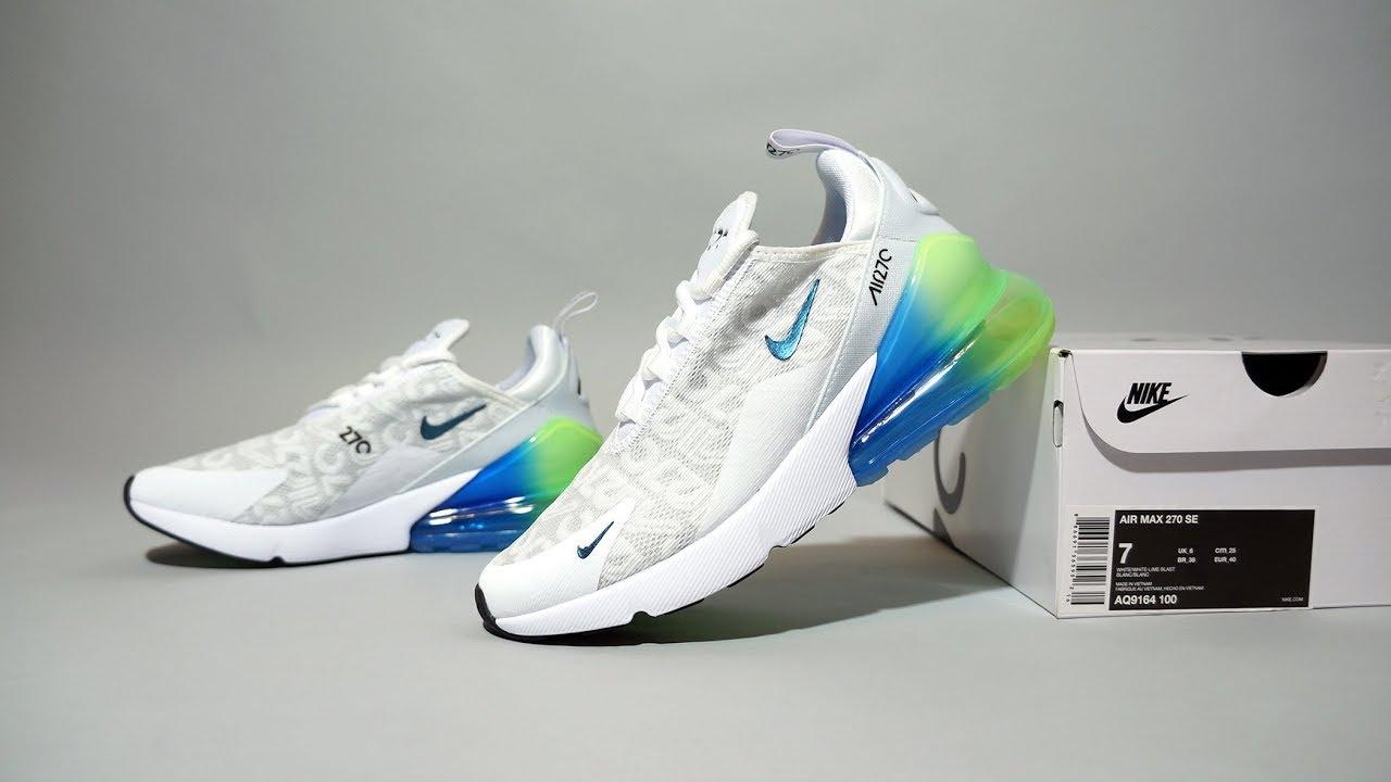 Nike Air Max 270 SE White Lime Blast AQ9164 100