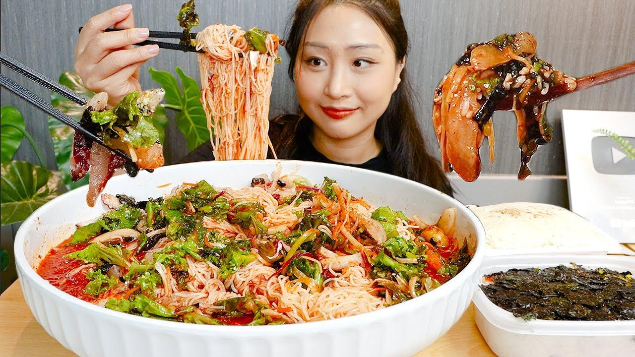 MUKBANG) 대왕 물회 먹방 with. 벽돌 소면+밥,,😂 Mulhewh(Korean cold seafood soup) Noodles ASMR Eating