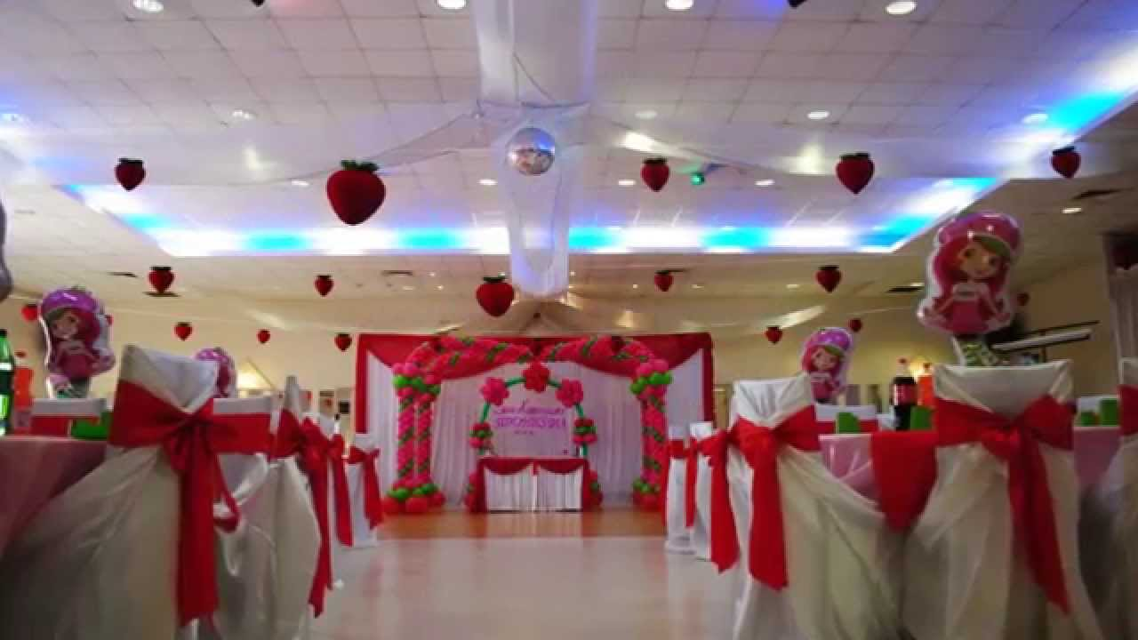 Strawberry shortcake theme decorations specialized for for Balloon decoration ideas youtube