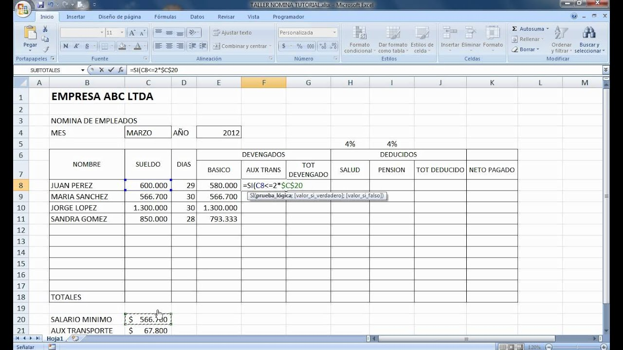 Tutorial Excel Nomina 2012 Youtube