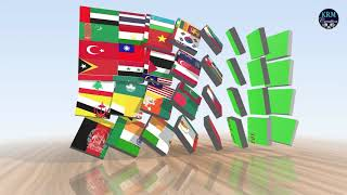 National Flags Of Asian Countries Green Screen Video Effects
