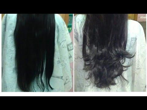 Samy Step Cut On Long Hair Youtube