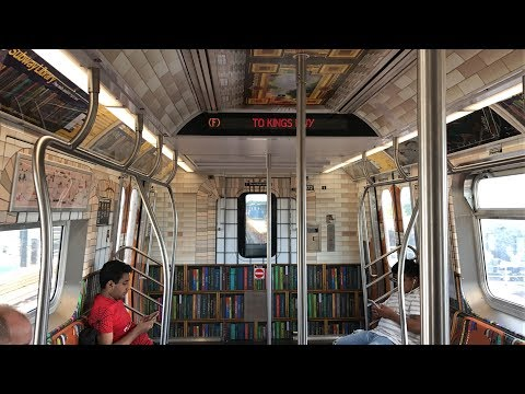 """NYC Subway HD 60fps: Riding R160B """"Subway Library"""" Wrap Train on The F Line (6/9/17)"""