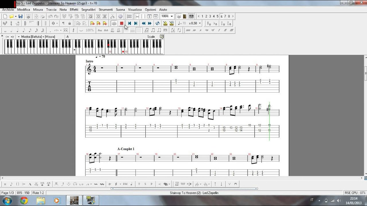 Stairway To Heaven Flute Score On The Pentagram And Demonstration On The Keyboard Youtube