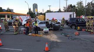 RCMP Investigating If Mechanical Failer Caused Car Crash. Lougheed Hwy Coquitlam