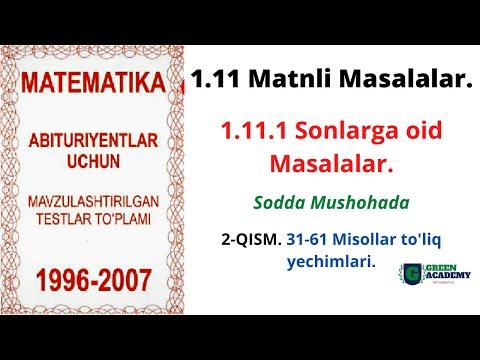 MATNLI MASALALAR   SONLARGA OID MASALALAR   Sodda Mushohada   Matematika darslari   1996-2007To'plam