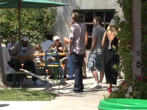 Shawn Stewart avoids questions in Malibu.