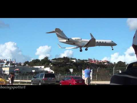 Private Jets landing low over Maho Beach, St.  Maarten