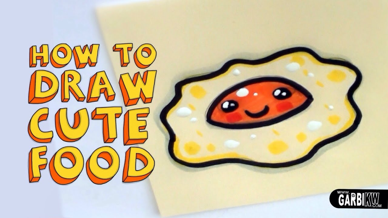 How To Draw A Cute Fried Egg Kawaii Food Easy Drawings By Garbi With Faces Drawing