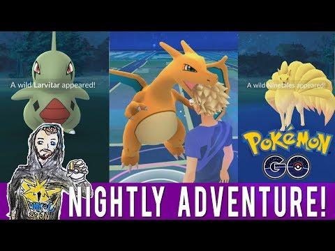 TRESPASSING IS ILLEGAL! Pokemon GO Nightly Adventure! Wild Charizard! Wild Larvitar! Wild Ninetales!