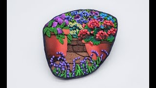 Pots, Paths & Flowers, Painting with Polymer Clay, a Brooch Tutorial