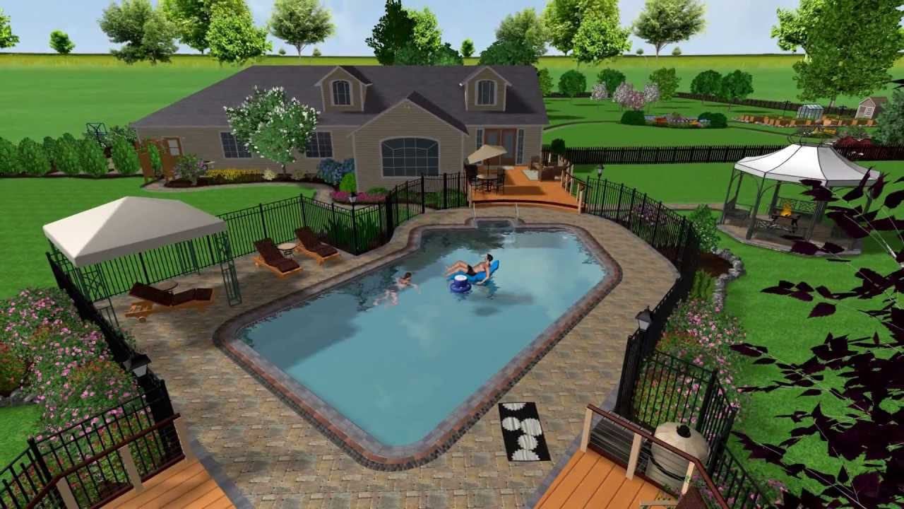 2 Realtime Landscaping Architect Swimming Pool Youtube