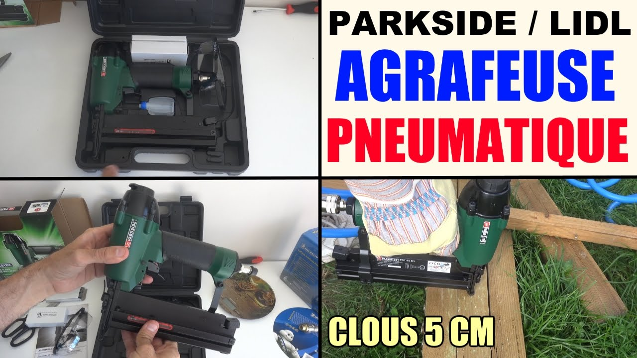 Agrafeuse Pneumatique Air Comprime Parkside Lidl Pdt 40 D3 Pneumatic Stapler Druckluft Tacker