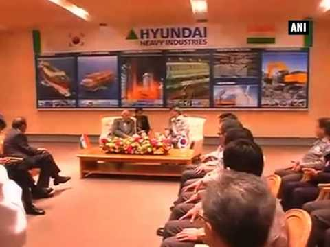 PM Modi takes tour of Hyundai Heavy Industries shipyard in South Korea