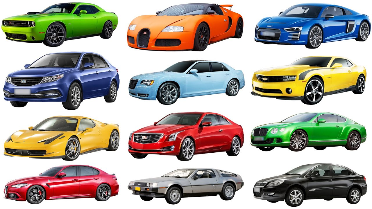 A to G  Brand of cars names of cars transportation for kids. Street vehicles names cars for