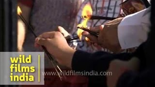 Hindu devotees lit incense sticks to offer prayer - Kamakhya Temple