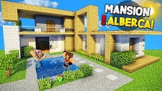MINECRAFT: COMO HACER UNA MANSION 100% SURVIVAL CON EPICA ALBERCA!! | MANSION EPICA PARA SURVIVAL