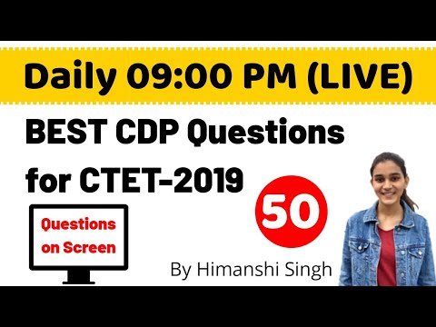 Best CDP(बाल विकास) Questions for CTET-2019 | Live-50