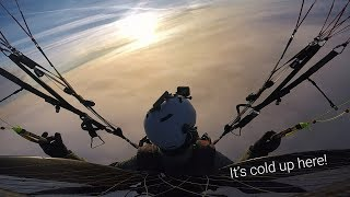 Testing a survival suit above the clouds!