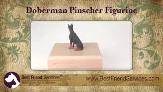 Doberman Figurine Urn - Red