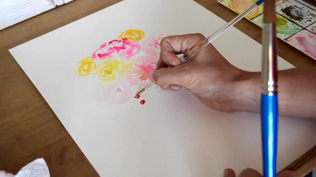 Peindre un bouquet de fleurs à l'aquarelle - YouTube