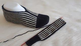 En Kolay Patik Modelleri İki Şiş Zebra Patik Yapımı(English Subtitle)