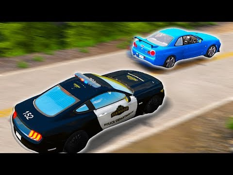 MUSTANG POLICE CAR CHASES NISSAN SKYLINE GTR! CRAZY CRASHES! - BeamNG Drive Police Pursuits