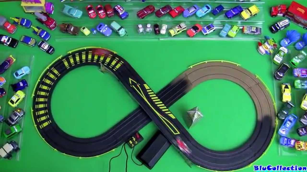 cars 2 london city raceway slot car racing track speedway mcqueen vs francesco disney pixar youtube