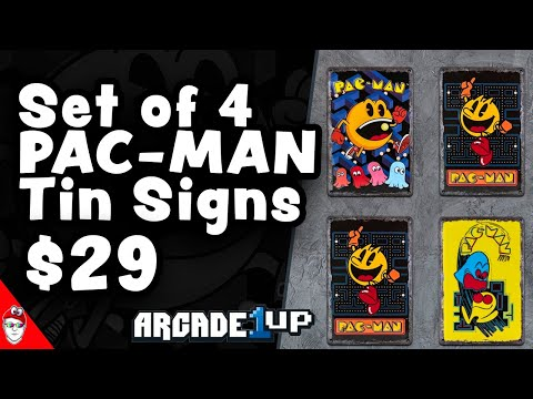 Arcade1Up - 4 Pac-Man Tin Signs for $29! from Console Kits
