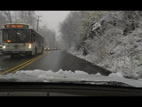 Driving while snowing in Paterson Plank Road — Jersey City, NJ, USA