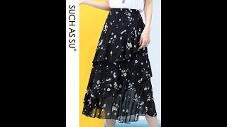 Женская шифоновая юбка с принтом асимметричная эластичная средней длины высокой талией 3 цвета