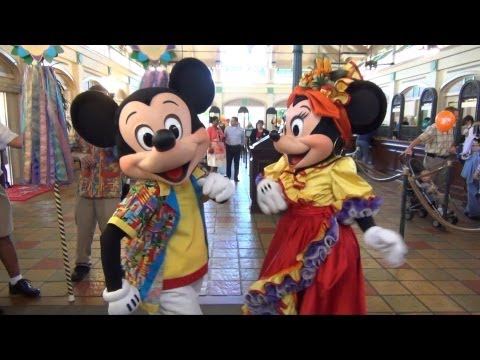 Mickey & Minnie Greet Us & Dance in Island Attire, Disney's Caribbean Beach Resort 25th Anniversary