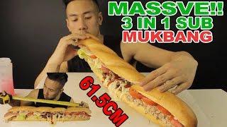 [MUKBANG] MASSIVE 3 IN 1 SUB 61.5CM?? MEATBALL, HAM & TUNA-MASSIVE BITES