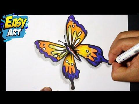 how to draw butterfly 3 - como dibujar una mariposa - como pintar ...