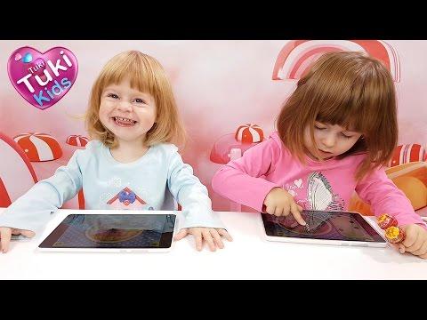 ✿ Аня против Лизы. Игровой челлендж и обзор планшетов. Игры на планшете для детей.