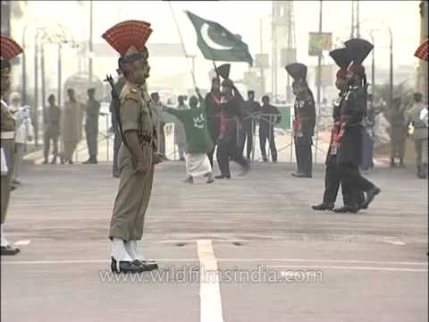 Pakistan Rangers and Indian BSF facing one another