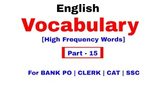 English Vocabulary for Bank po and SSC CGL | In Hindi Part 15