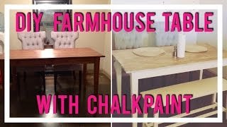 DIY Farmhouse Dining Table with ChalkPaint