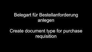 PR için SAP MM - Oluşturmak belge türü