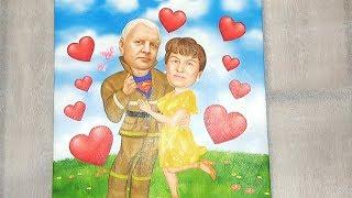Подарок родителям от дочери. Шаржи в Москве на заказ