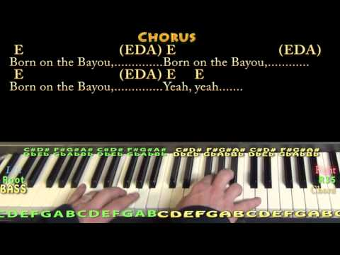 Born on the Bayou (CCR) Piano Cover Lesson with Lyrics/Chords