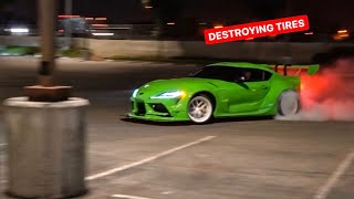 DESTROYING TIRES IN OUR 2020 TOYOTA SUPRA! *POLICE COMPLIMENT US*