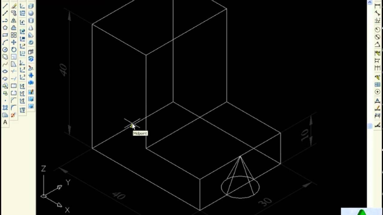 Cách vẽ hình nón trong CAD 3D   Lệnh Cone